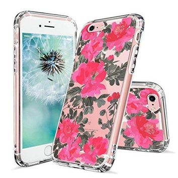 DCCKV2S iPhone 6s Case, iPhone 6 Case Clear, MOSNOVO Red Floral Flower Pattern Printed Clear Design Transparent Plastic Hard Back Case with TPU Bumper Protective Case Cover for Apple iPhone 6 6s (4.7 Inch)