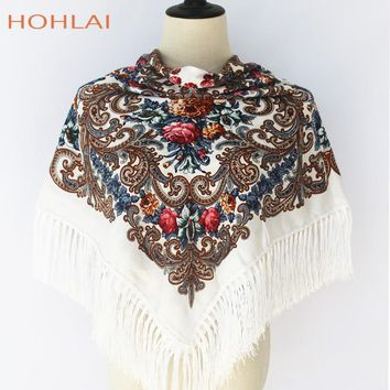 Luxury Brand Printing Cotton LongTassel Russian RetroStyle WomanWeddingScarf Winter Oversized Square Blankets Bandana Warm Shawl