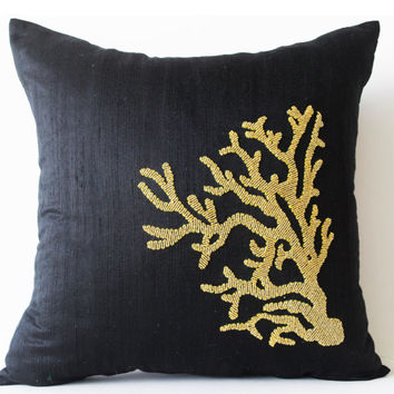 Premium Beaded Pillow -Pure Black Silk Gold Coral Pillows -Decorative throw pillow -gold coral -Gift -Oceanic pillows -16X16-Couch pillows