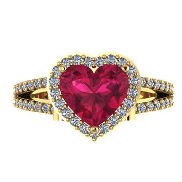 Shop Ruby And Diamond Heart Ring on Wanelo