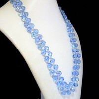 Pale Blue Glass Bead Necklace, Bridal Jewelry, Aurora Borealis Faceted Beads, Something Blue, Multi Strand, Mid Century Jewelry 218