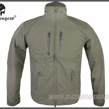 Hunting Combat EMERSON Soft Shell Windbreaker Jacket Breathable perspiration Foliage Green FG EM6810F