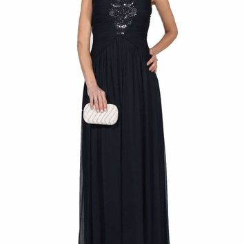 Adrianna Papell - 09G879300 Cap Sleeve Embellished Ruched A-Line Gown