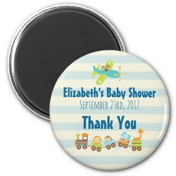 Animal Toy Train and Airplane Baby Shower Thanks 2 Inch Round Magnet