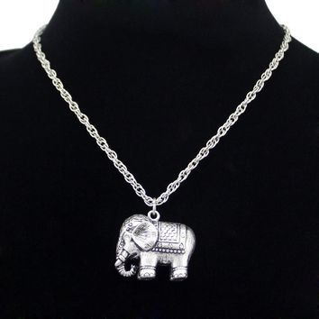 African Elephant Indian Ganesha Ganesh Hindu Silver Pendant Necklace