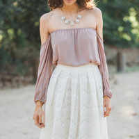 Hanna Off the Shoulder Mocha Long Sleeve Top