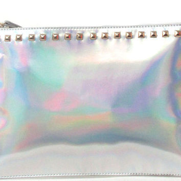 Holographic Studded Clutch Wristlet
