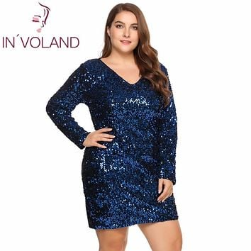 IN'VOLAND Large Size XS-5XL Women Party Dress Sexy Sequined Bodycon Cocktail Club Sheath Loose Big Ladies Dresses Plus Oversized