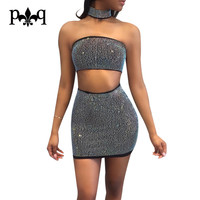 Hilove Summer Women Dress Sexy Off The Shoulder Dresses Rhinestone Black White Two Piece Set Party Club Wear Bodycon Dress