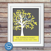 Lovebird Family Tree Print with Family Name - Housewarming Gift, Anniversary Gift, Gift for Wife - Bird Print