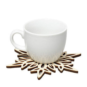 Wooden Carved Snowflake XMAS Mug Coasters Chic Holder Coffee Tea Drinks Cup HU
