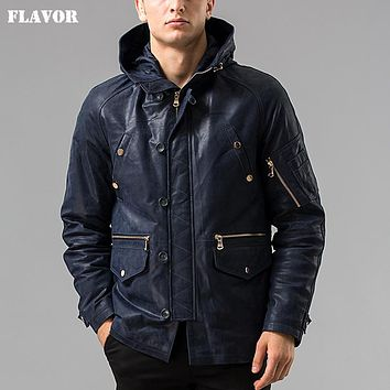 Men's real leather jacket Hooded hat Detachable Genuine Leather jacket male overcoat