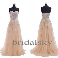 Elegant Champagne Sequined Long Aline Chiffon Evening Dresses Prom Dresses Bridesmaid Dresses 2014 New Arrival