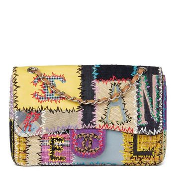 CHANEL MULTICOLOUR PATCHWORK MULTI-FABRIC JUMBO FLAP BAG HB1630
