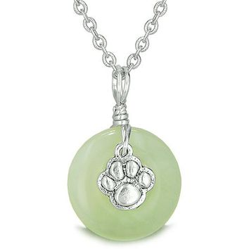 Small Wolf Paw Lucky Charm Amulet Silver Gemstone Jade Donut Courage Positive Pendant Necklace