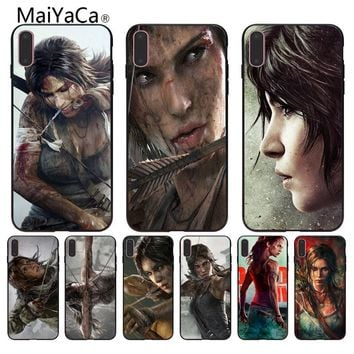 MaiYaCa Tomb raider wallpaper Black soft shell For Apple iPhone 8 7 6 6S Plus X 5 5S SE XR Mobile Cover Black soft shell