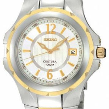 Seiko SGEE68 Men's Coutura Two Tone Gold Plated White Dial Watch