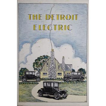 Detroit Electric poster Metal Sign Wall Art 8in x 12in