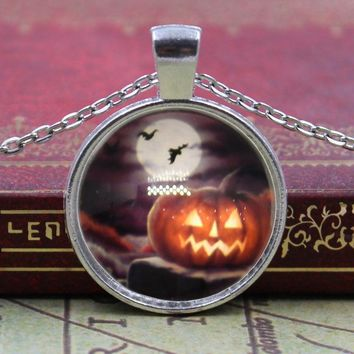 New Brand Jewelry Halloween Night bat pumpkin light Charming Glass Cabochon Silver Plated Long Pendant Necklace for Women Gift