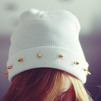 Studded spiked BEANIE White