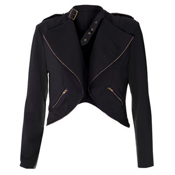 Cropped Clasp Neck Jacket, Black
