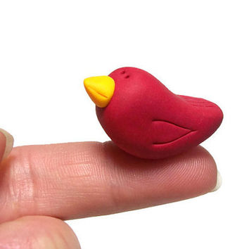 Miniature Polymer Clay Bird - Colorful Handmade Clay Bird Figurine Sculpture - Choose Red Green Blue Orange Lavender Black White Brown