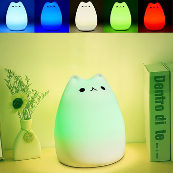 Colorful 7 Colors Cat Children Animal LED Night Light Silicone Soft Cartoon Baby Nursery Lamp Breathing LED Night Light USB