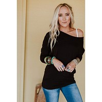 Solid Dolman Top - Black
