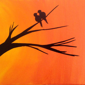 Sunset Birds Acrylic painting canvas art Love birds Wall art decor Tree Love Birds silhouette Lovers gift Orange Christmas art canvas quotes