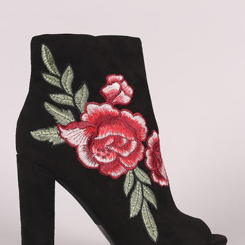 Wild Diva Lounge Embroidered Floral Chunky Heeled Ankle Boots