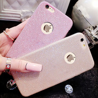 Shinning Sparkling Girl's Soft Gel TPU Phone Cases Cover For iphone 5 5s 6 6s 6+ Plus Case Candy Glitter Bling Bling Fundas Capa