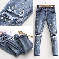 Women Fashion Destroyed Ripped pearled Slim Denim Pants Embroidered Flares Jeans Trousers Denim Long Hole