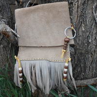 Handsewn, Handstitched Leather Belt Bag, Cell Phone Bag, Key Chain, Soft Tan Cowhide Leather, OOAK, Native American by Oglala Lakota Artist