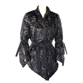 """""""Mosaique"""" faceted glittering cozy v-shaped jacket"""