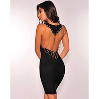 Solid Color Fashion Gold Chain Stitching Backless Sleeveless Bodycon Mini Dress