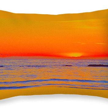 """Ocean Sunset In Orange And Blue Throw Pillow for Sale by Ben and Raisa Gertsberg - 20"""" x 14"""""""