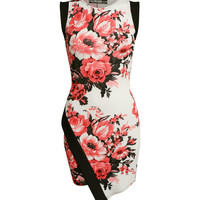 Lucy Asymmetric Floral Bodycon Dress in Coral