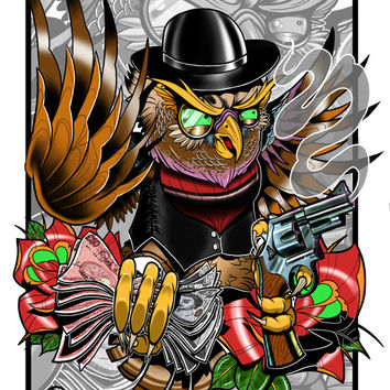 Old School Gangster Owl Tattoo Flash Print
