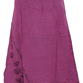Mogul Women's Fashionista Skirt Pink Embroidered Rayon Boho A LINE Skirts S