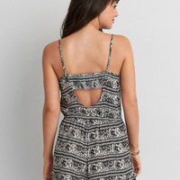 AEO PATTERN LACE-UP ROMPER