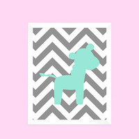 Mint Zebra on Gray Chevron Print CUSTOM COLORS custom nursery decor art baby room baby girl safari animals decor print digital download 8x10