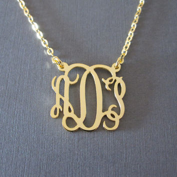 Gold Monogram Necklace - 3 different sizes