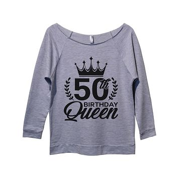 50th birthday Queen Womens 3/4 Long Sleeve Vintage Raw Edge Shirt