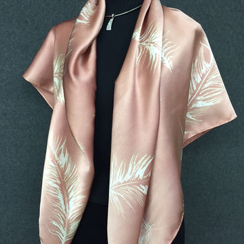 Caramel Feathers - Hand Painted Silk Scarf / Wrap
