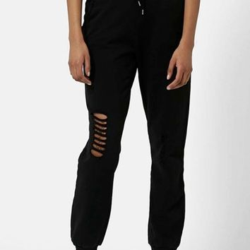 Women's Topshop Destroyed Ripped Knee Joggers,