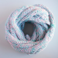 Fall Winter Mixed Pastel Pink and Mint Cable Knits Knitted Wrap Around Infinity Scarf, Neckwarmer, Cowl