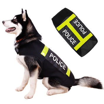 Large Pet Dog Reflective Clothes Working Big Dog Clothing Riot Police Style Coat Dog Vest Summer Wear Costum Jacket L XL XXL