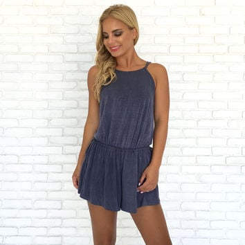 Roll With Me Jersey Romper in Blue
