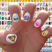 Emoji // Alien // Turd // Cat // Hearts // Space Invader // Nineties //  Nail Decals Transfer Nail Stickers