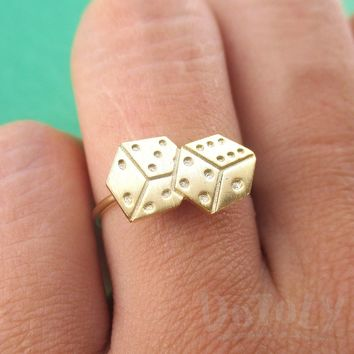 Rolling Dices Lucky Dice Shaped Adjustable Ring in Gold